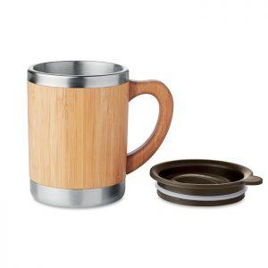 Taza de acero inoxidable y bambú