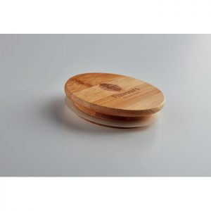 Taza de vidrio con tapa de bambú